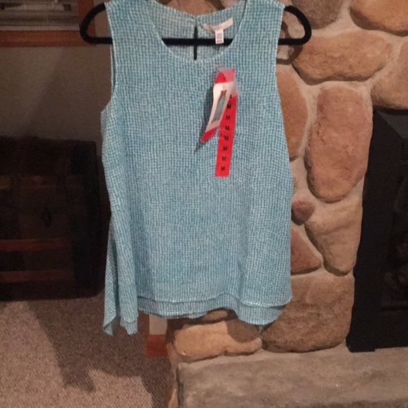 Fever Tops - Sleeveless Blouse - color turquoise/white